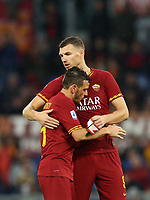 Football, Serie A: AS Roma - Brescia FC, Olympic stadium, Rome, November 24, 2019. <br /> Roma's Alessandro Florenzi (l) gives the captain armband to Edin Dzeko (r) as he leaves the pitch during the Italian Serie A football match between Roma and Brescia at Olympic stadium in Rome, on November 24, 2019. <br /> UPDATE IMAGES PRESS/Isabella Bonotto