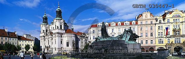 Tom Mackie, LANDSCAPES, panoramic, photos, Church of St. Nicholas & Statue of Jan Hus, Prague, Czech Republic, GBTM030447-1,#L#