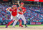 7 September 2014: Philadelphia Phillies catcher Carlos Ruiz makes a throw to second as Anthony Rendon stands by during a game against the Washington Nationals at Nationals Park in Washington, DC. The Phillies fell to the Nationals 3-2 in their final meeting of the season. Mandatory Credit: Ed Wolfstein Photo *** RAW (NEF) Image File Available ***