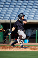 New York Yankees Kyle Gray (2) follows through on a swing during a Florida Instructional League game against the Philadelphia Phillies on October 12, 2018 at Spectrum Field in Clearwater, Florida.  (Mike Janes/Four Seam Images)