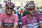 Race leader Rohan Dennis (AUS) BMC Racing Team and Maglia Ciclamino Elia Viviani (ITA) Quick-Step Floors line up for the start of Stage 6 of the 2018 Giro d'Italia, running 169km from Caltanissetta to the Etna (Osservatorio Astrofisico) marks the first mountain finish of the race finishing on the Osservatorio Astrofisico climb for the first time in race's history, Sicily, Italy. 10th May 2018.<br /> Picture: LaPresse/Fabio Ferrari | Cyclefile<br /> <br /> <br /> All photos usage must carry mandatory copyright credit (&copy; Cyclefile | LaPresse/Fabio Ferrari)