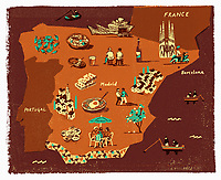 Illustrated tourism map of Spain