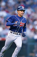 Omar Vizquel of the Cleveland Indians runs the bases during a 2002 MLB season game against the Los Angeles Angels at Angel Stadium, in Los Angeles, California. (Larry Goren/Four Seam Images)