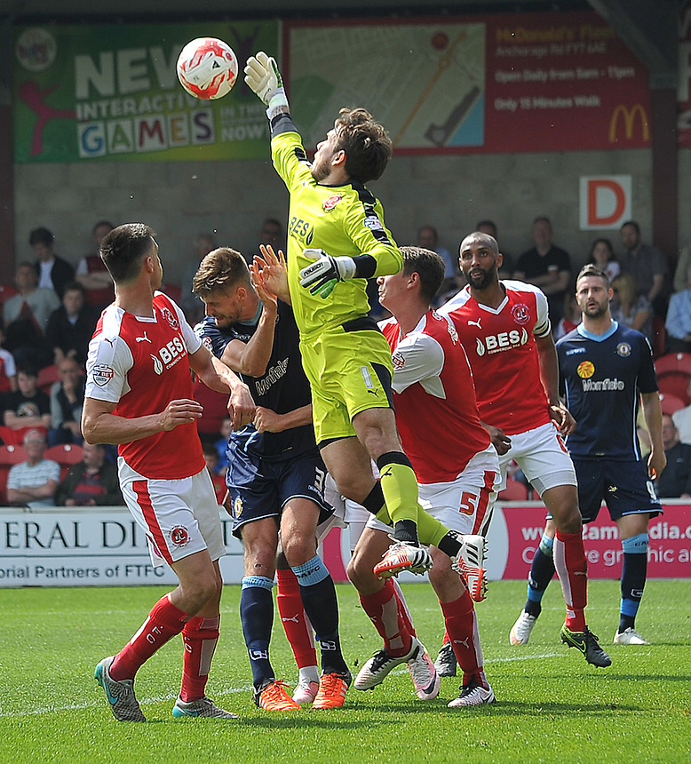 Fleetwood Town's Chris Maxwell keeps a clean sheet<br /> <br /> Photographer Bethany Hankey/CameraSport<br /> <br /> Football - The Football League Sky Bet League One - Fleetwood Town v Crewe Alexandra - Sunday 8th May 2016 - Highbury Stadium - Fleetwood    <br /> <br /> &copy; CameraSport - 43 Linden Ave. Countesthorpe. Leicester. England. LE8 5PG - Tel: +44 (0) 116 277 4147 - admin@camerasport.com - www.camerasport.com