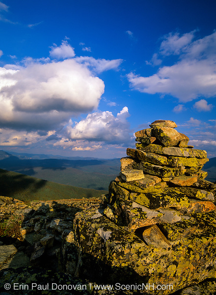 Rock cairn along the Bondcliff Trail on the summit of Bondcliff in the Pemigewasset Wilderness in the New Hampshire White Mountains. Bondcliff, Mount Bond, and West Bond were named in 1876 for Professor G.P. Bond of Harvard University.