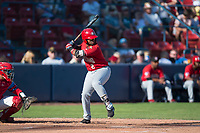 Vancouver Canadians first baseman Sterling Guzman (2) at bat in front of catcher Isaias Quiroz (11) during a Northwest League game against the Spokane Indians at Avista Stadium on September 2, 2018 in Spokane, Washington. The Spokane Indians defeated the Vancouver Canadians by a score of 3-1. (Zachary Lucy/Four Seam Images)