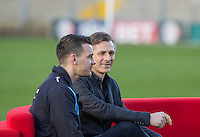 Wycombe Manager Gareth Ainsworth with player Matt Bloomfield During BBC Breakfast as they air their live broadcast on Tuesday morning, presented by Bill Turnbull for his penultimate appearance on the programme at Adams Park, High Wycombe, England on 23 February 2016. Photo by Andy Rowland.
