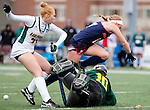 EASTON, MA - NOVEMBER 20:  Emily Barnard (17) of Shippensburg University falls over goalkeeper Ericka Parks (10) of LIU Post  and Bailey Martin (23) of LIU Post during the NCAA Division II Field Hockey Championship at WB Mason Stadium on November 20, 2016 in Easton, Massachusetts.  Shippensburg University defeated LIU Post 2-1 for the national title. (Photo by Winslow Townson/NCAA Photos via Getty Images)