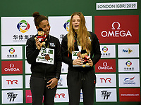 Women's 3m Synchro Springboard bronze medallists Jennifer Abel and Melissa Citrini Beaulieu<br /> <br /> Photographer Hannah Fountain/CameraSport<br /> <br /> FINA/CNSG Diving World Series 2019 - Day 1 - Friday 17th May 2019 - London Aquatics Centre - Queen Elizabeth Olympic Park - London<br /> <br /> World Copyright © 2019 CameraSport. All rights reserved. 43 Linden Ave. Countesthorpe. Leicester. England. LE8 5PG - Tel: +44 (0) 116 277 4147 - admin@camerasport.com - www.camerasport.com