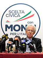 Mario Monti.Roma 15/02/2013 Presentazione del programma per lo sport della Scelta Civica Monti per l'Italia..The italian premier presents his program for sport for the next elections 2013 and candidate two of the best athlets in the world at the past olympic and paralympic games. .Photo Samantha Zucchi Insidefoto
