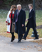 First lady Melania Trump, United States President Donald J. Trump, and Barron Trump walk from the Oval Office to Marine One where they will spend the Thanksgiving holiday on Tuesday, November 20, 2018.  The President took questions about his daughter Ivanka's e-mails, various court cases and Saudi Arabia.<br /> Credit: Ron Sachs / CNP<br /> (RESTRICTION: NO New York or New Jersey Newspapers or newspapers within a 75 mile radius of New York City)