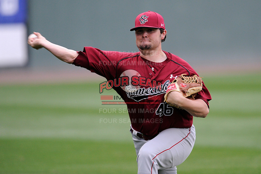 Pitcher Jackson Smith (46) of the South Carolina Gamecocks works out before a game against the Furman Paladins on Tuesday, April 8, 2014, at Fluor Field at the West End in Greenville, South Carolina. (Tom Priddy/Four Seam Images)