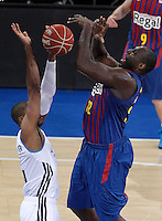 Real Madrid's Marcus Slaughter (l) and FC Barcelona Regal's Nathan Jawai during Spanish Basketball King's Cup match.February 07,2013. (ALTERPHOTOS/Acero) /Nortephoto