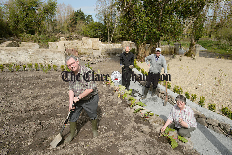 Greg Duff, Chairman Duchas na Sionna, Pat Grue, member,Tom Chambers, co-ordinator and Ann Magoufis,secretary working on a Community Heritage project at Hastings Farmhouse in Shannon. Photograph by John kelly.