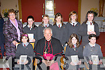 Curraheen NS pupils who was confirmed in Glenbeigh on Tuesday front row l-r: Andrea Houlihan, Bishop Bill Murphy, Ciara McGillicuddy, Emma O'Connor. Back row: Helen Murphy, Suzanne Murphy, Shannon O'Neill, Lisa O'Connor, Saoirse Roche, and Caoimhe O'Sullivan