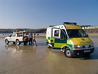 Paramedic Ambulance on beach with RNLI