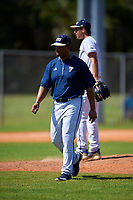 FIU Panthers head coach Mervyl Melendez during a game against the South Dakota State Jackrabbits on February 23, 2019 at North Charlotte Regional Park in Port Charlotte, Florida.  South Dakota defeated FIU 4-3.  (Mike Janes/Four Seam Images)