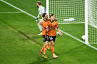 29th July 2020; Bankwest Stadium, Parramatta, New South Wales, Australia; A League Football, Melbourne Victory versus Brisbane Roar; Matthew Ridenton of Brisbane Roar celebrates his goal with Jack Hingert of Brisbane Roar to make it 2-0 in the 78th minute
