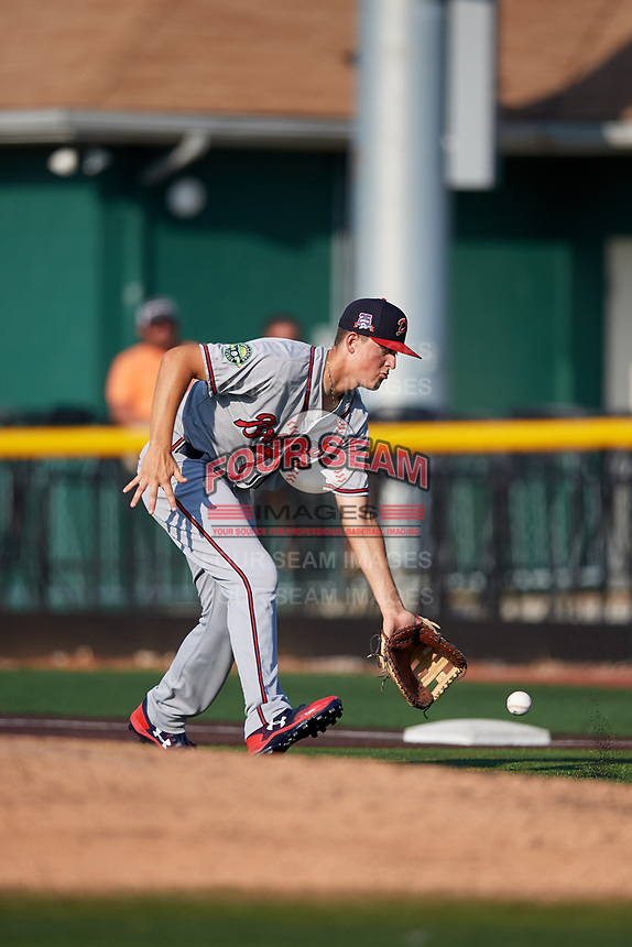 Danville Braves first baseman Griffin Benson (16) fields a ground ball during a game against the Johnson City Cardinals on July 29, 2018 at TVA Credit Union Ballpark in Johnson City, Tennessee.  Johnson City defeated Danville 8-1.  (Mike Janes/Four Seam Images)