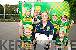 Casandra Buckley, teacher in the Holy Cross Mercy preschool, Killarney, and Kerry ladies footballer pictured with Keelan O'Donoghue, Clodagh Flanagan, Finan Blackwell, James Ward, Jake Nash and Emily O'Neill who came out in green and gold during the week to show their support for the Kerry ladies on Sunday...........................................................