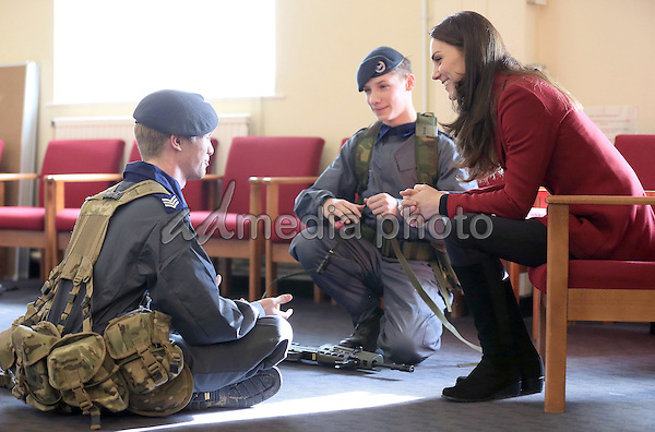 14 February 2017 - Princess Kate Duchess of Cambridge speaks to Air Cadets during a visit to the RAF Air Cadets at RAF Wittering in Stamford, Lincolnshire.  The Duchess of Cambridge is Royal Patron and Honorary Air Commandant of the Air Cadet Organisation. Photo Credit: ALPR/AdMedia