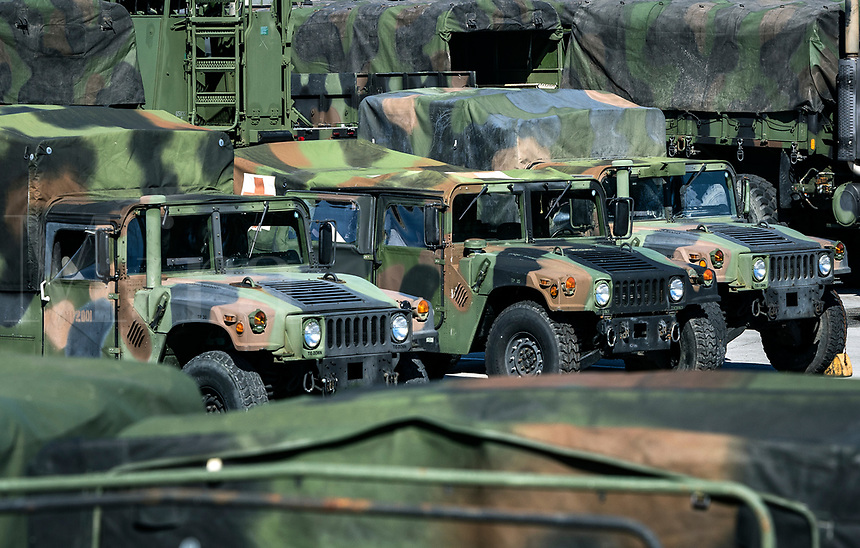 Marine Corps Humvees, Marine Corps Base Camp Lejeune, North Carolina, USA.