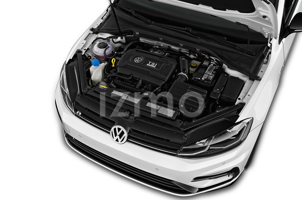 Car Stock 2019 Volkswagen Golf R 5 Door Hatchback Engine  high angle detail view