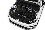 Car Stock 2019 Volkswagen Golf R 5 Door Hatchback Engine  high angle detail view