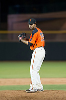 AZL Giants relief pitcher Olbis Parra (72) prepares to deliver a pitch to the plate during Game Three of the Arizona League Championship Series against the AZL Cubs on September 7, 2017 at Scottsdale Stadium in Scottsdale, Arizona. AZL Cubs defeated the AZL Giants 13-3 to win the series two games to one. (Zachary Lucy/Four Seam Images)