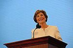 First Lady Laura Bush greets delegates on day one of the Republican National Convention at the XCel Center in Saint Paul, Minnesota on September 1, 2008. According to organizers, convention activities are scaled back considerably on day one due to Hurricane Gustav.