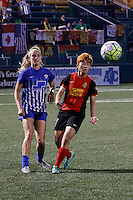 Rochester, NY - Friday May 27, 2016: Boston Breakers defender Christen Westphal (21) and Western New York Flash midfielder Jeon Ga-Eul (7). The Western New York Flash defeated the Boston Breakers 4-0 during a regular season National Women's Soccer League (NWSL) match at Rochester Rhinos Stadium.