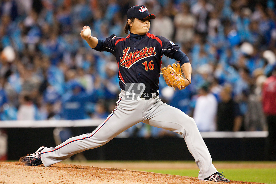 17 March 2009: #16 Hideaki Wakui of Japan pitches against Korea during the 2009 World Baseball Classic Pool 1 game 4 at Petco Park in San Diego, California, USA. Korea wins 4-1 over Japan.