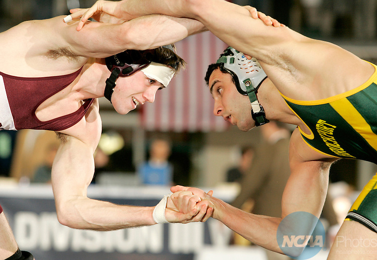 5 March 2005:  Mark Matzek (left) of Augsburg College wrestles Tony DAmbra of SUNY Brockport in the 133 lb. championship match Division 3 Wrestling Championships held at the Tostrud Center at St. Olaf College in Northfield, MN.  Matzek defeated DAmbra 4-1 to take home the national title.  Trevor Brown, Jr./NCAA Photos