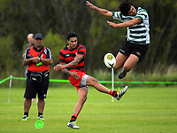 James Pakai's conversion attempt is charged down during the Wellington club rugby Swindale Shield match between Poneke and Old Boys University at Awakairangi Park in Wellington, New Zealand on Saturday, 18 March 2017. Photo: Dave Lintott / lintottphoto.co.nz