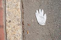 Newton Center COVID-19 closed restaurant - discarded glove - Newton MA - 28 Mar 2020