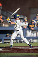 Michigan Wolverines catcher Joe Donovan (0) at bat against the Rutgers Scarlet Knights on April 26, 2019 in the NCAA baseball game at Ray Fisher Stadium in Ann Arbor, Michigan. Michigan defeated Rutgers 8-3. (Andrew Woolley/Four Seam Images)