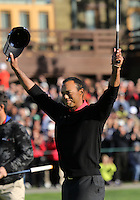 28 JAN 13  Tournament Champion Tiger Woods acknowledges the crowd on 18 during Sunday's Final Round of The Farmers Insurance Open at Torrey Pines Golf Course in La Jolla, California. (photo:  kenneth e.dennis / kendennisphoto.com)