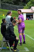 Team Wellington keeper Scott Basalaj is substituted during the 2018 OFC Champions League Quarterfinal between Team Wellington and Lae City Dwellers FC at David Farrington Park in Wellington, New Zealand on Saturday, 7 April 2018. Photo: Dave Lintott / lintottphoto.co.nz