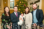 Baby Eabha Gilmore with her parents Eoin & Yvonne Gilmore, Moyvane and god parents Sara Gilmore & Donie Enright who was christened in Moyvane Church by Fr. Kevin McNamara on Saturday last and afterwards at the Listowel  Arms Hotel.