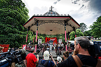 Pictured: Labour leader Jeremy Corbyn addresses supporters from the park band stand. Sunday 01 July 2018<br /> Re: Labour Party leader Jeremy Corbyn at the celebration for the 70 years since the National Health Service (NHS) was founded by Aneurin Bevan, Bedwellty Park, Tredegar, Wales, UK.