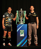 London, England. George Pisi of Northampton Saints with Northampton Saints Director of Rugby Jim Mallinder during the UK Heineken Cup and Amlin Challenge Cup season launch at SKY Studios on October 1, 2012 in London, England.