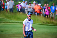 Tyler Light (USA) is all smiles after sinking a 66 foot birdie putt on 6 during Saturday's round 3 of the 117th U.S. Open, at Erin Hills, Erin, Wisconsin. 6/17/2017.<br /> Picture: Golffile | Ken Murray<br /> <br /> <br /> All photo usage must carry mandatory copyright credit (&copy; Golffile | Ken Murray)