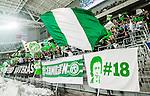 Stockholm 2015-03-14 Bandy SM-final herrar Sandvikens AIK - V&auml;ster&aring;s SK :  <br /> V&auml;ster&aring;s supporterar med flaggor och banderoll f&ouml;rest&auml;llande bortg&aring;ngne V&auml;ster&aring;sspelaren #18 Victor Engstr&ouml;m under matchen mellan Sandvikens AIK och V&auml;ster&aring;s SK <br /> (Foto: Kenta J&ouml;nsson) Nyckelord:  SM SM-final final Bandyfinal Bandyfinalen herr herrar VSK V&auml;ster&aring;s SAIK Sandviken supporter fans publik supporters