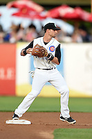Kane County Cougars second baseman Danny Lockhart (7) looks to first during a game against the Quad Cities River Bandits on August 14, 2014 at Third Bank Ballpark in Geneva, Illinois.  Kane County defeated Quad Cities 4-1.  (Mike Janes/Four Seam Images)