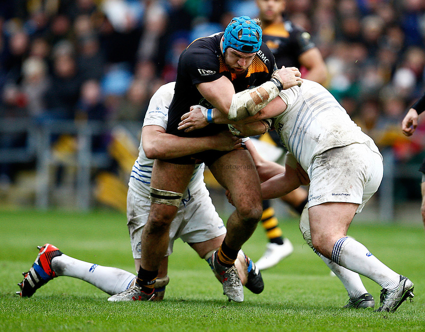 Photo: Richard Lane/Richard Lane Photography. Wasps v Leinster Rugby.  European Rugby Champions Cup. 24/01/2015. Wasps' James Haskell attacks.