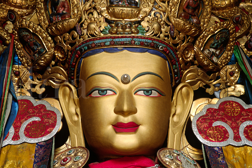 Statue of MAITREYA BUDDHA in the recently reconstructed GANDEN ASSEMBLY HALL - GANDEN MONASTERY, TIBET