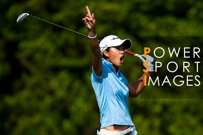 TAOYUAN, TAIWAN - OCTOBER 22: Connie Chen of South Africa shouts out after hitting a wayward shot on the 9th hole during day three of the LPGA Imperial Springs Taiwan Championship at Sunrise Golf Course on October 22, 2011 in Taoyuan, Taiwan. Photo by Victor Fraile / The Power of Sport Images