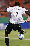 Oct 05 2007:  Luciano Emilio (11) of D.C. United is pulled off the ball by an unidentified Wizards player (out of frame).  The MLS Kansas City Wizards tied the visiting D.C.United 1-1 at Arrowhead Stadium in Kansas City, Missouri, in a regular season league soccer match.