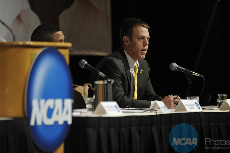 14 JAN 2010: The Division I Issues Forum at the 2010 NCAA Convention held at the Marriott Marquis and the Hyatt Regency in Atlanta, GA. Stephen Nowland/NCAA Photos.Pictured: Matthew Baysinger.