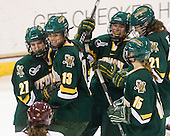 Erin Barley-Maloney (Vermont - 27), Teddy Fortin (Vermont - 13), ?, Hannah Westbrook (Vermont - 15), Melanie Greene (Vermont - 21) - The University of Vermont Catamounts defeated the Boston College Eagles 5-1 on Saturday, November 7, 2009, at Conte Forum in Chestnut Hill, Massachusetts.